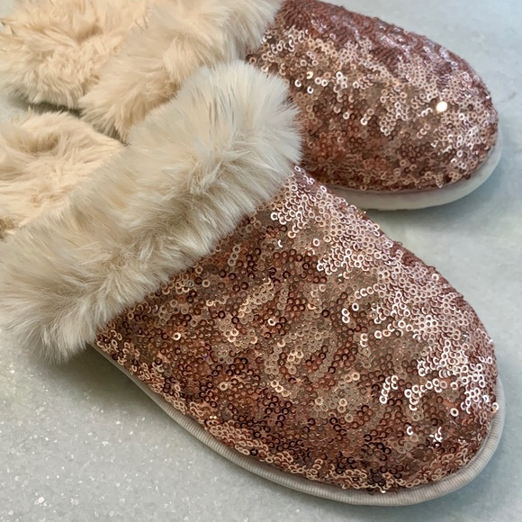 Target Shoes   Rose Gold Fuzzy Slippers